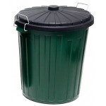 73LT GREEN PLASTIC BIN WITH LOCK-ON LID