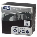 TORK TWO PLY  BLACK COCKTAIL NAPKINS (20 PACKS X 100 SHEETS)